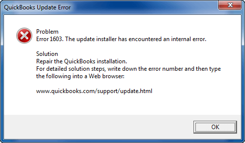Quickbooks Error 1603